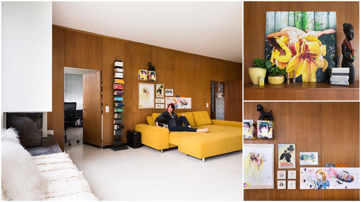Schönes offenes Wohnzimmer in einer Loftwohnung in Lustenau, Vorarlberg